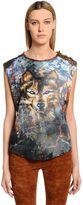 Balmain Wolf Print Cotton Jersey Sleeveless Top