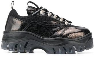 MSGM metallic sheen Tractor sneakers