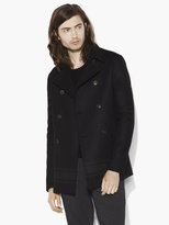John Varvatos Wool Engineered Stripe Pea Coat