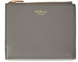Mulberry Zipped Card Wallet Charcoal Small Classic Grain