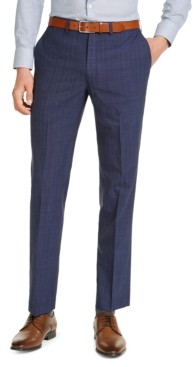 DKNY Men's Slim-Fit Stretch Navy Blue/Blue Stripe Suit Pants