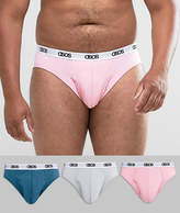 Asos Plus Briefs With Branded Waistband In Pink Blue & Grey 3 Pack