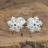 Embers Gemstone Jewellery Christmas Silver Snowflake Blue Sapphire Earrings