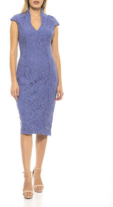 Alexia Admor Kenall Lace Military-Neck Sheath Dress