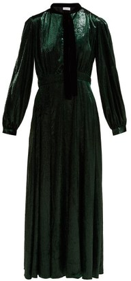 Raquel Diniz Armonia Tie-neck Velvet Dress - Womens - Dark Green