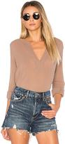 Bobi Gauze Long Sleeve Top in Brown. - size M (also in S,XS)