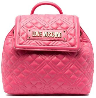 Love Moschino Logo Plaque Quilted Backpack