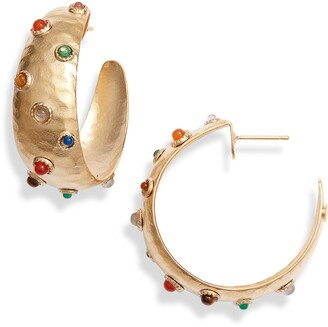 Gas Bijoux Leontia Cabochon Hoop Earrings
