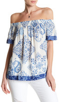 Lucky Brand Print Off-the-Shoulder Blouse