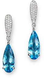 Bloomingdale's Blue Topaz and Diamond Drop Earrings in 14K White Gold - 100% Exclusive