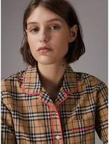 Burberry Contrast Piping Vintage Check Pyjama-style Shirt