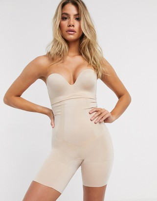 Spanx Oncore high-waisted mid-thigh super firm shaping short in beige