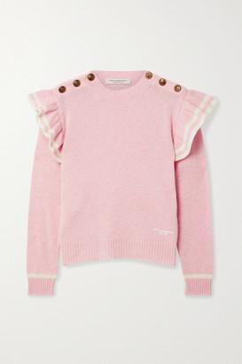 Philosophy di Lorenzo Serafini Ruffled Striped Cashmere Sweater - Baby pink