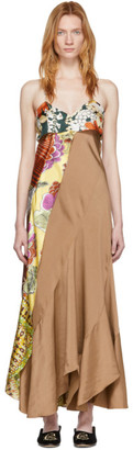 Chloé Brown and Multicolor Scarf Detail Dress