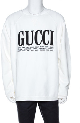 Gucci White Logo Print Knit Long Sleeve Jumper XL