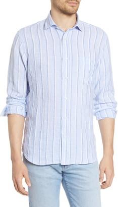 Hartford Paul Regular Fit Stripe Linen Button-Up Shirt