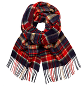 Johnstons Of Elgin Cashmere Multi Check Scarf, Red/blue