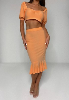 Missguided Peach Milkmaid Top And Midi Skirt Co Ord Set