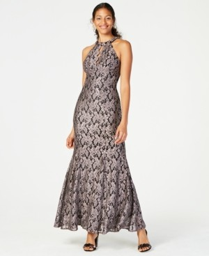 Night Way Nightway Glitter-Lace Keyhole Gown