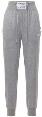 Adam Selman Sport High Waist Lurex Jersey Sweatpants