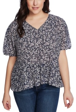1 STATE Trendy Plus Size Wildflower Bouquet Pleated Top