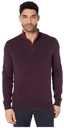 Perry Ellis 1/4 Zip Long Sleeve Sweater (Fig) Men's Clothing