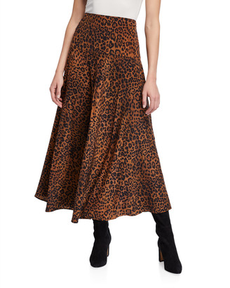 Lafayette 148 New York Elba Leopard Printed Silk A-Line Skirt