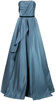 Marchesa Notte Strapless Satin Draped Silk Ballgown