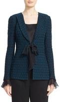 St. John Women's 'Neva' Woven Trim Tie Front Knit Jacket