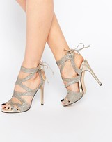 True Decadence Metallic Thread Strap Tie Up Sandals