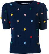 Alice + Olivia Alice+Olivia - pompom embellished knitted T-shirt - women - Cotton/Spandex/Elastane - XS