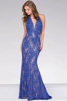 Jovani Lace Halter Neck Long Prom Dress 41248