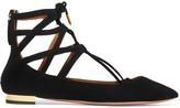 Aquazzura Belgravia Suede Point-toe Flats - Black
