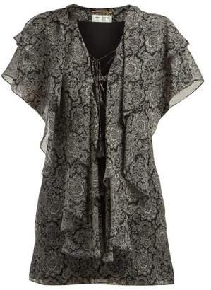 Saint Laurent Paisley-print Ruffled Silk Georgette Mini Dress - Womens - Black White