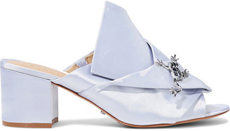 Schutz Madelly Appliqued Gathered Satin Mules