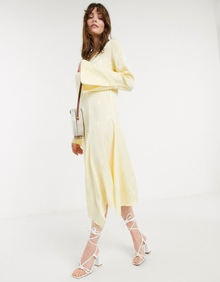 InWear Camelia flared sleeve midi dress in yellow