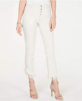INC International Concepts Inc Curvy Fringe-Hem Button-Front Straight-Leg Jeans