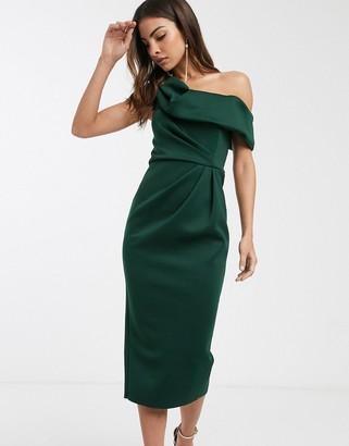 Asos DESIGN drape fallen shoulder midi pencil dress in forest green