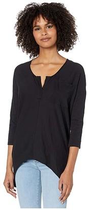 bobi Los Angeles 3/4 Sleeve Split Neck Top in Slubbed Jersey (Black) Women's Clothing