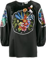 Fendi floral embroidered blouse - women - Silk/Cotton/Polyester/glass - 40