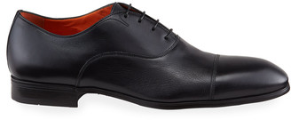Santoni Men's Salem Leather Lace-Up Loafers, Black