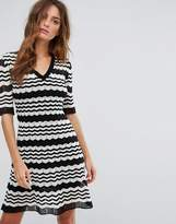 M Missoni Short Sleeve A Line Wool Mix Knit Dress