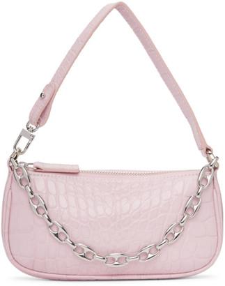 BY FAR Pink Croc Mini Rachel Bag