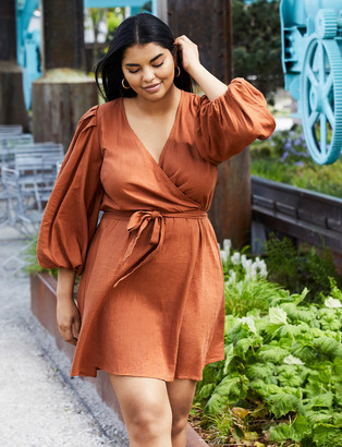 ELOQUII Dress with Dramatic Puff Sleeves