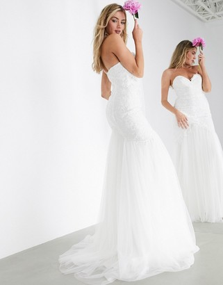ASOS EDITION Freya embroidered wedding dress with mesh fishtail