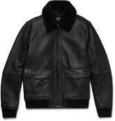 Michael Kors - Shearling-trimmed Full-grain Leather Bomber Jacket