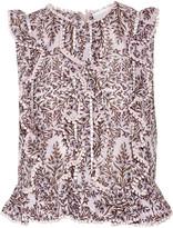 Zimmermann Henna ruffled printed cotton and silk-blend top