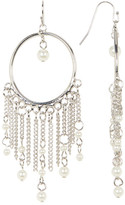 Jessica Simpson Circle & Glass Pearl Tassel Drop Earrings