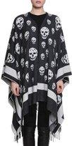 Alexander McQueen Big Skull Wool-Blend Cape, Black/Ivory