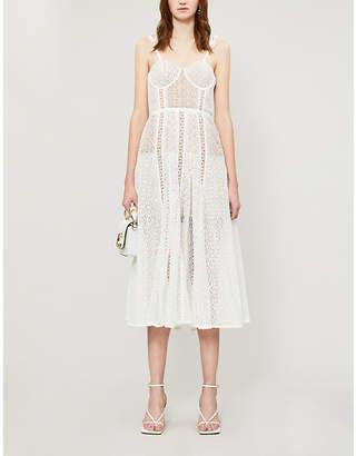 Self-Portrait Panelled floral-lace midi dress